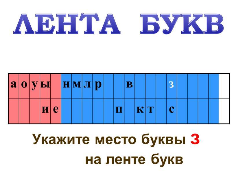 Укажите место буквы з на ленте букв а о у ы н м л р в и е п к т с