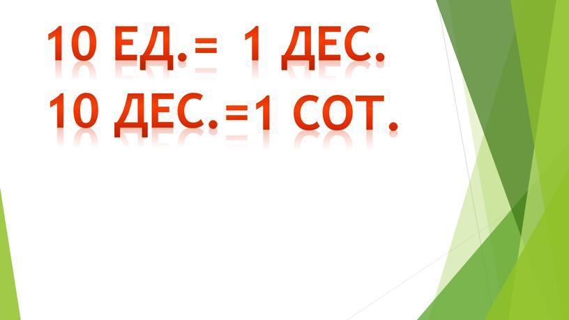 10 дес.= 10 ед.= 1 дес. 1 сот.