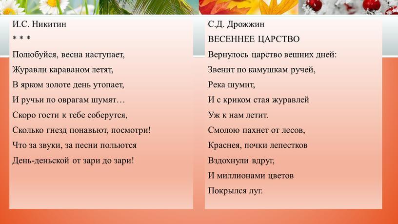И.С. Никитин * * * Полюбуйся, весна наступает,