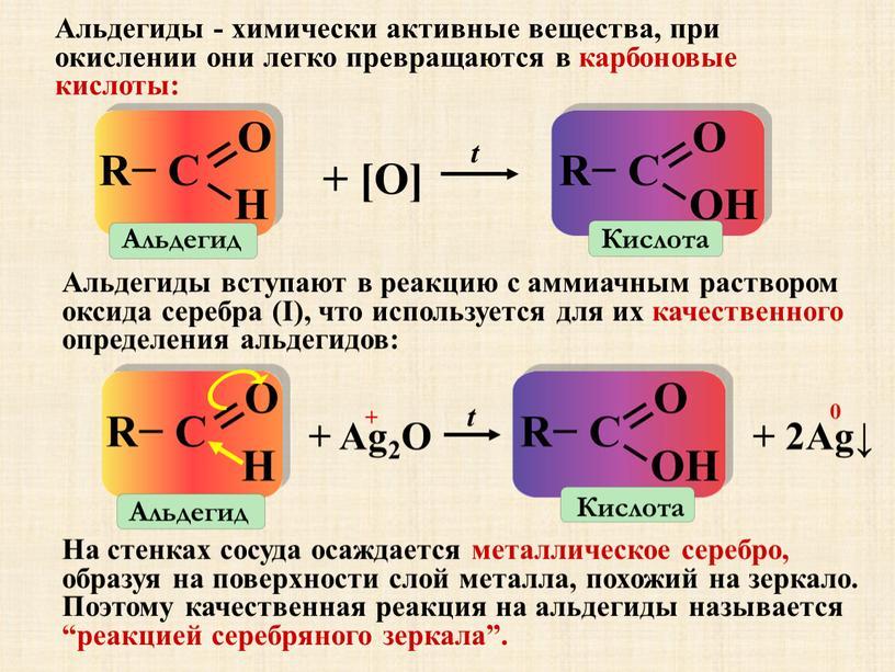 Альдегиды - химически активные вещества, при окислении они легко превращаются в карбоновые кислоты: