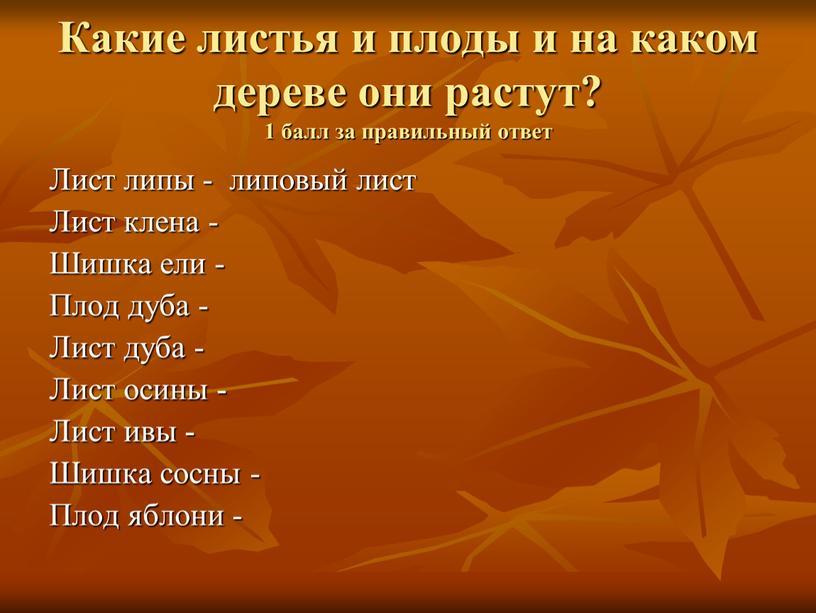 Какие листья и плоды и на каком дереве они растут? 1 балл за правильный ответ