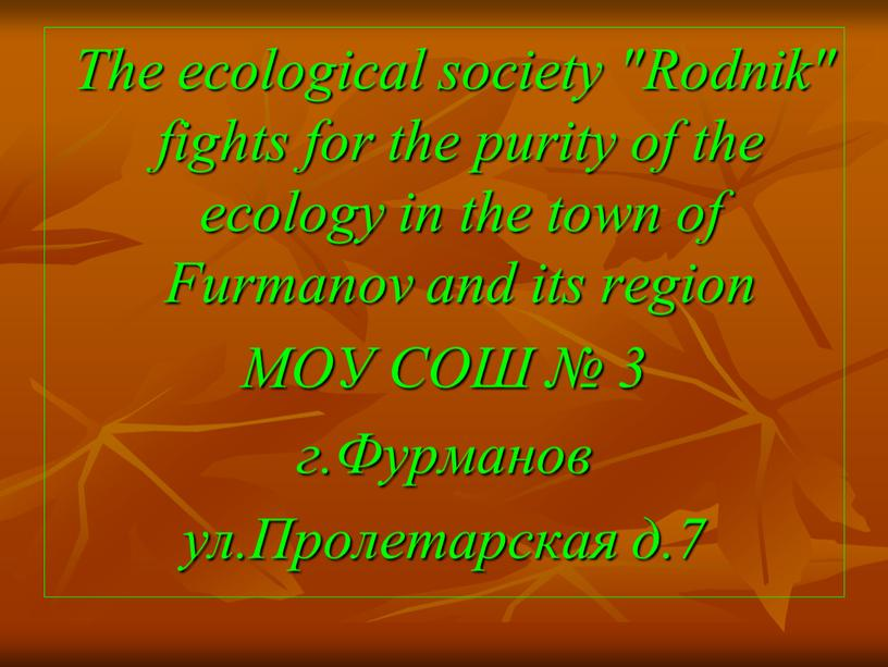 """The ecological society """"Rodnik"""" fights for the purity of the ecology in the town of"""
