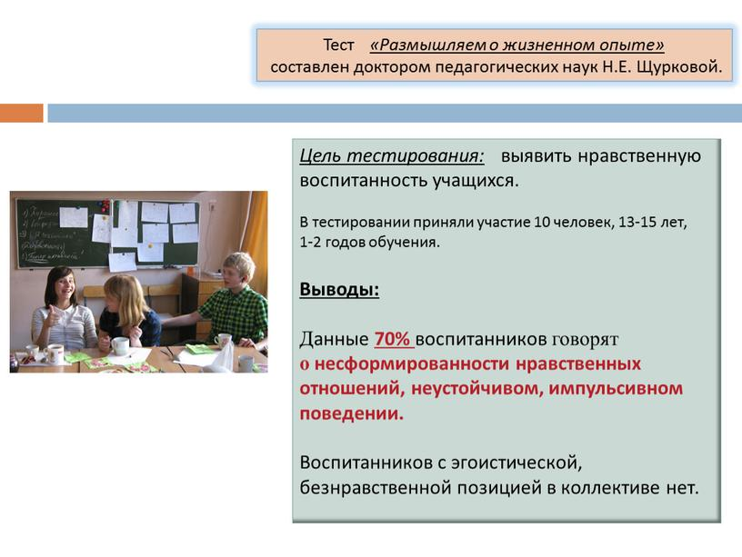 Цель тестирования: выявить нравственную воспитанность учащихся