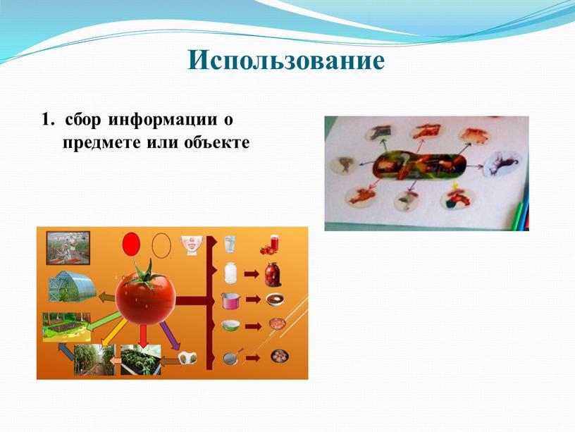 Использование 1. сбор информации о предмете или объекте