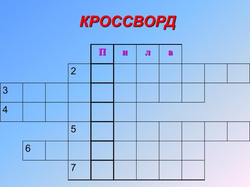 П и л а 2 3 4 5 6 7 КРОССВОРД