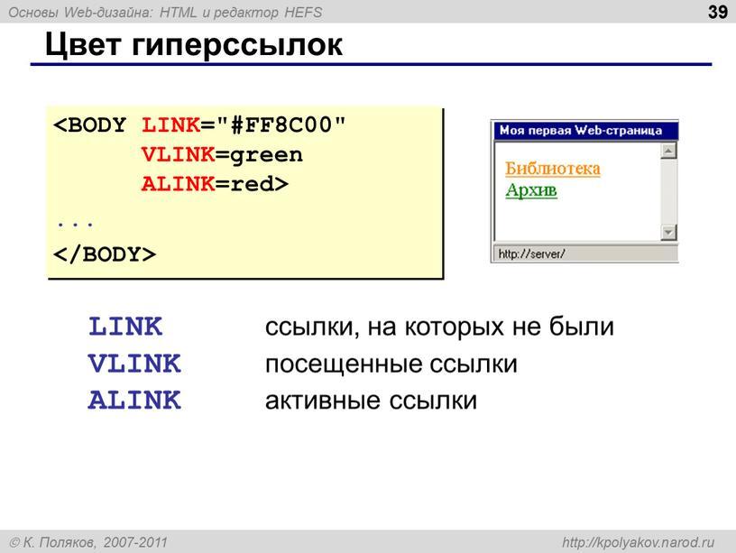 Цвет гиперссылок ... LINK ссылки, на которых не были