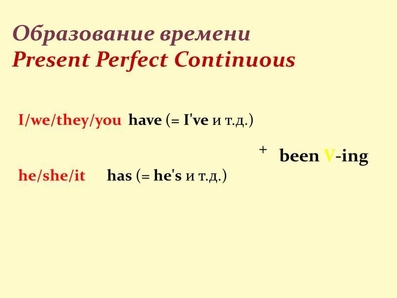 Образование времени Present Perfect