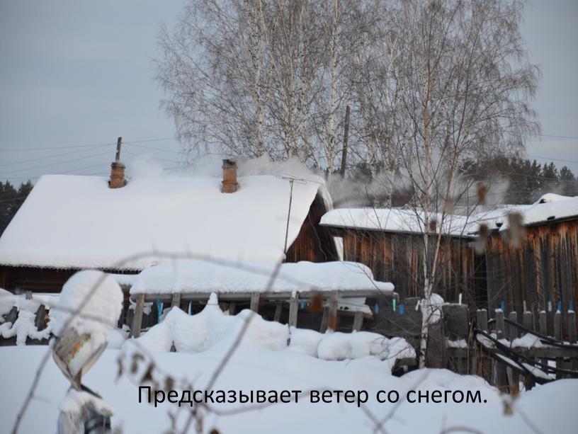 Предсказывает ветер со снегом.