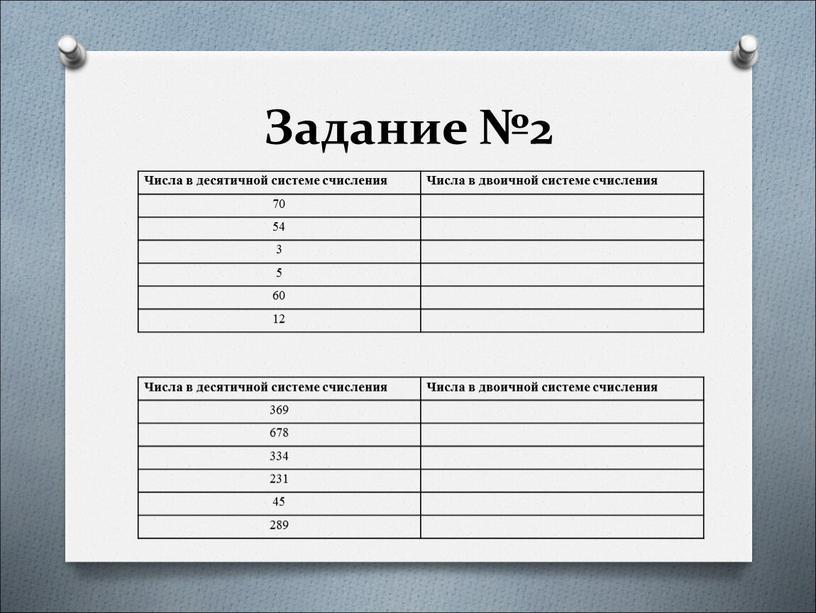 Задание №2 Числа в десятичной системе счисления