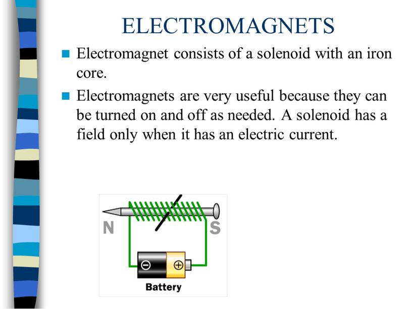 ELECTROMAGNETS Electromagnet consists of a solenoid with an iron core