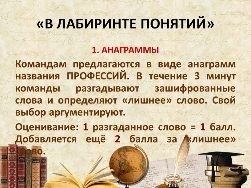 В ЛАБИРИНТЕ ПОНЯТИЙ» 1. АНАГРАММЫ