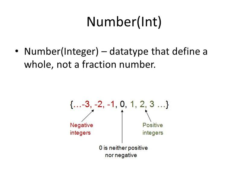 Number(Int) Number(Integer) – datatype that define a whole, not a fraction number