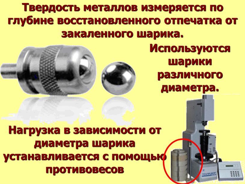 Твердость металлов измеряется по глубине восстановленного отпечатка от закаленного шарика