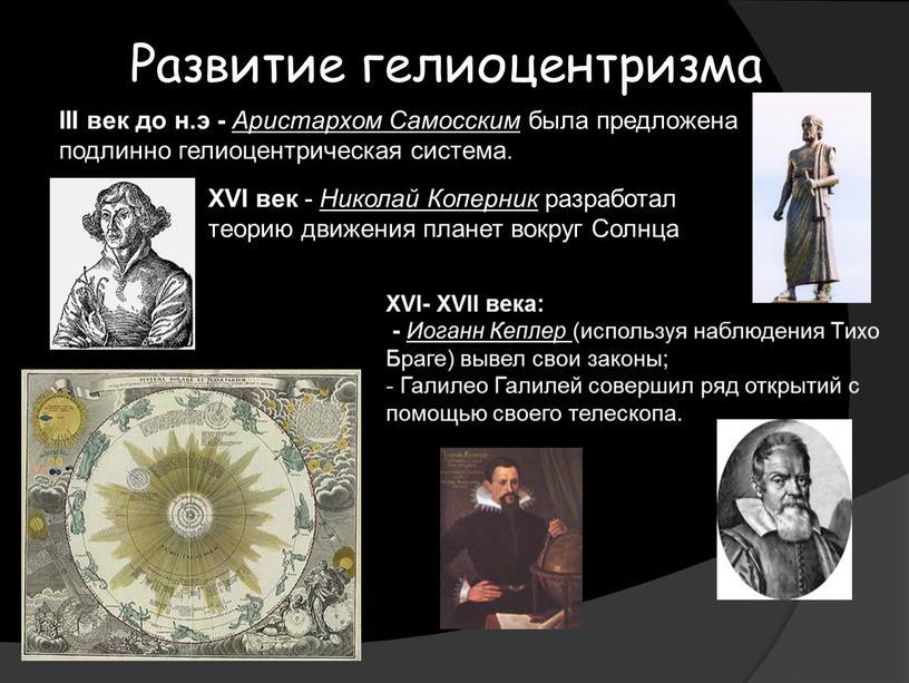 Развитие гелиоцентризма III век до н