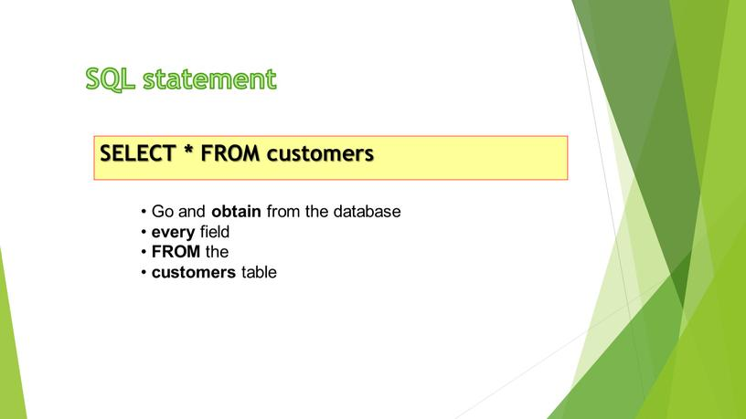 SQL statement SELECT * FROM customers