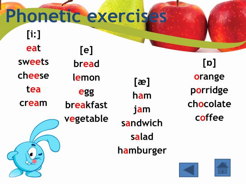 Phonetic exercises [i:] eat sweets cheese tea cream [e] bread lemon egg breakfast vegetable [ɒ] orange porridge chocolate coffee [æ] ham jam sandwich salad hamburger