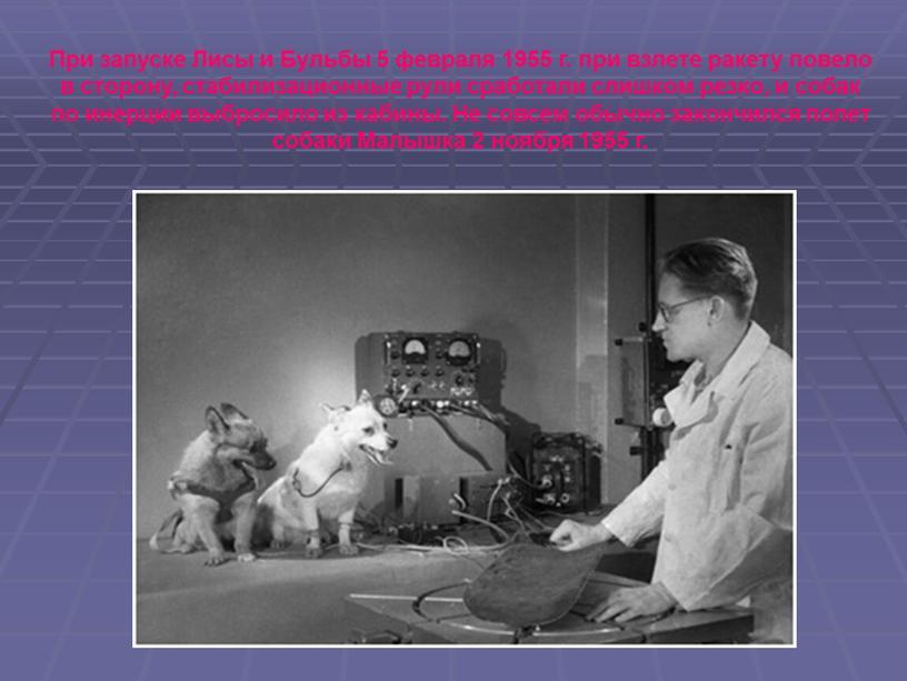 При запуске Лисы и Бульбы 5 февраля 1955 г