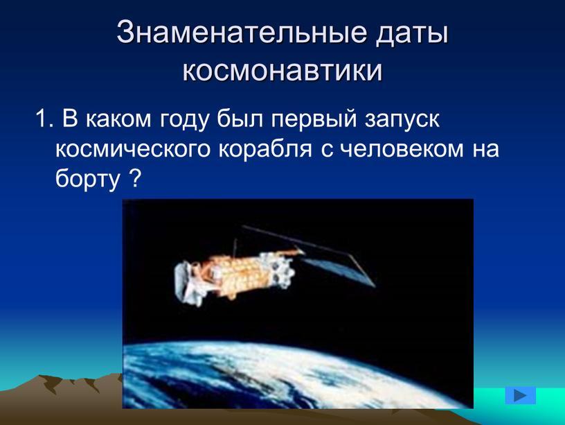 Знаменательные даты космонавтики 1
