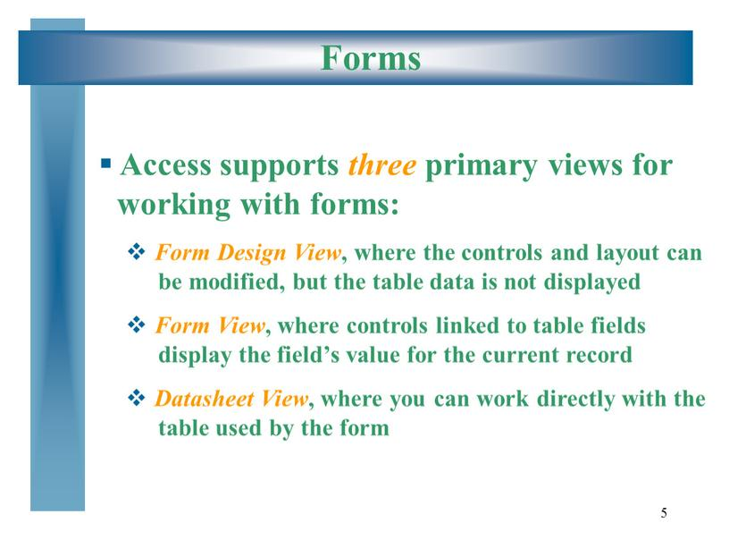 Forms Access supports three primary views for working with forms: