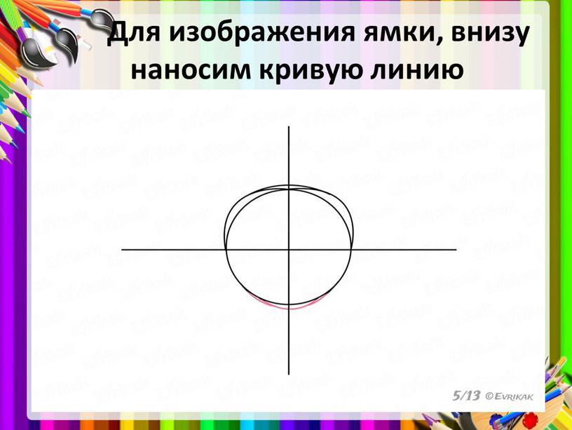 Для изображения ямки, внизу наносим кривую линию