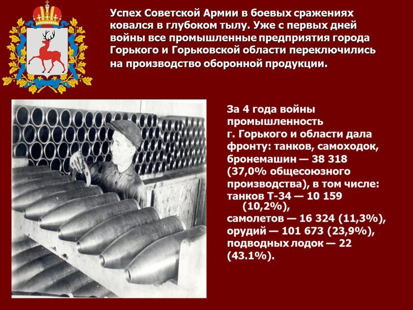 Успех Советской Армии в боевых сражениях ковался в глубоком тылу