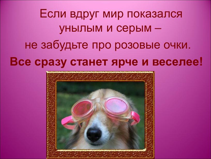 Если вдруг мир показался унылым и серым – не забудьте про розовые очки