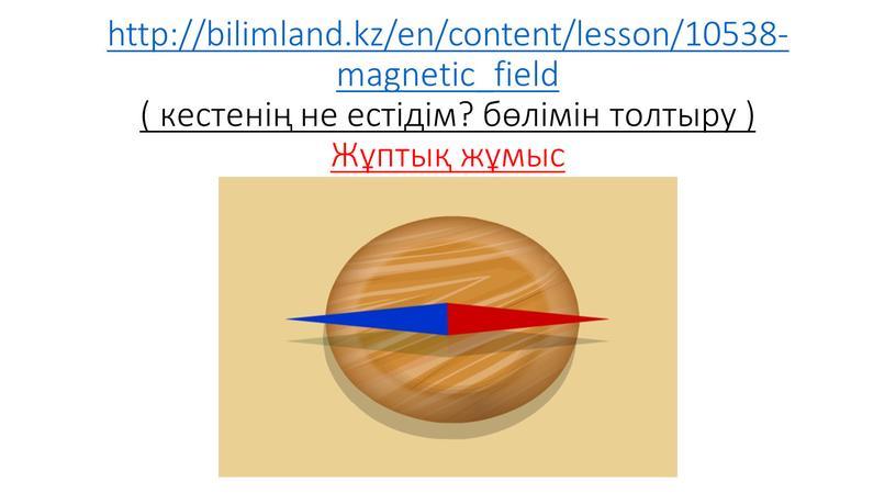 http://bilimland.kz/en/content/lesson/10538-magnetic_field ( кестенің не естідім? бөлімін толтыру ) Жұптық жұмыс