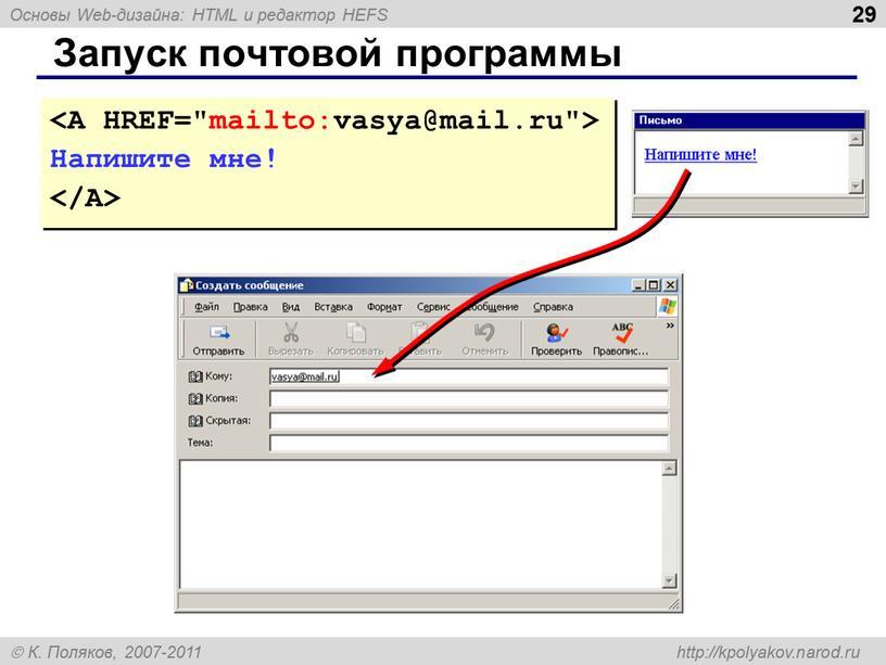 Запуск почтовой программы Напишите мне!