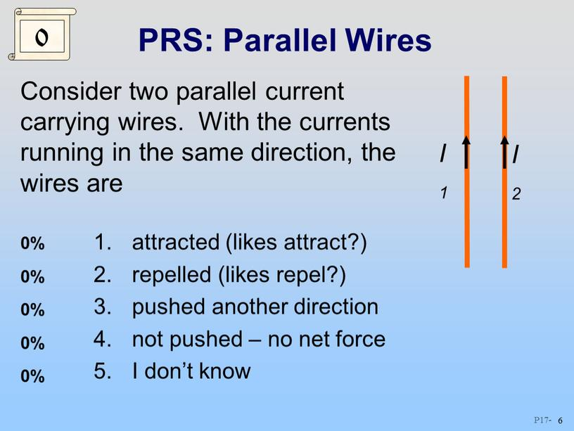 PRS: Parallel Wires Consider two parallel current carrying wires
