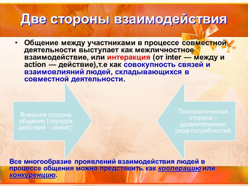 Две стороны взаимодействия Общение между участниками в процессе совместной деятельности выступает как межличностное взаимодействие, или интеракция (от inter — между и action — действие),т