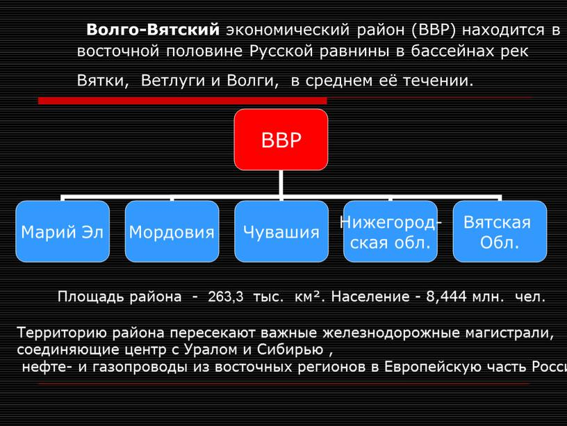 Волго-Вятский экономический район (ВВР) находится в восточной половине