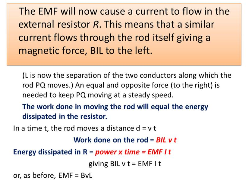 The EMF will now cause a current to flow in the external resistor