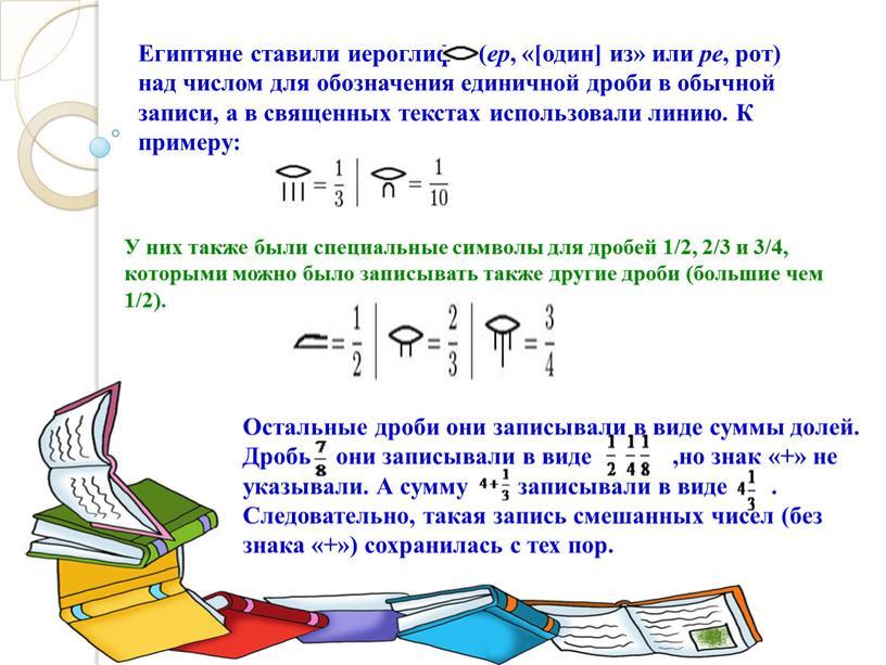 Египтяне ставили иероглиф ( ер , «[один] из» или ре , рот) над числом для обозначения единичной дроби в обычной записи, а в священных текстах…