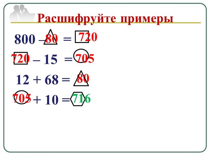 Расшифруйте примеры 80 80 720 720 705 705 716