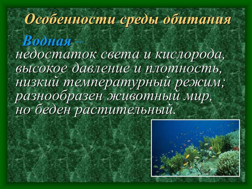 Особенности среды обитания недостаток света и кислорода, высокое давление и плотность, низкий температурный режим; разнообразен животный мир, но беден растительный