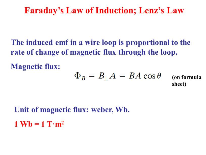 Faraday's Law of Induction; Lenz's