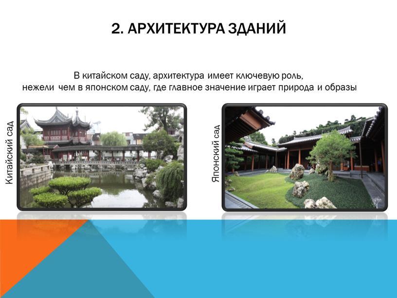 Архитектура Зданий В китайском саду, архитектура имеет ключевую роль, нежели чем в японском саду, где главное значение играет природа и образы