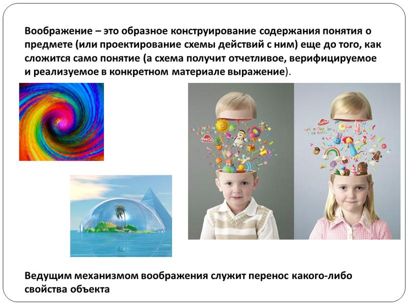 Воображение – это образное конструирование содержания понятия о предмете (или проектирование схемы действий с ним) еще до того, как сложится само понятие (а схема получит…