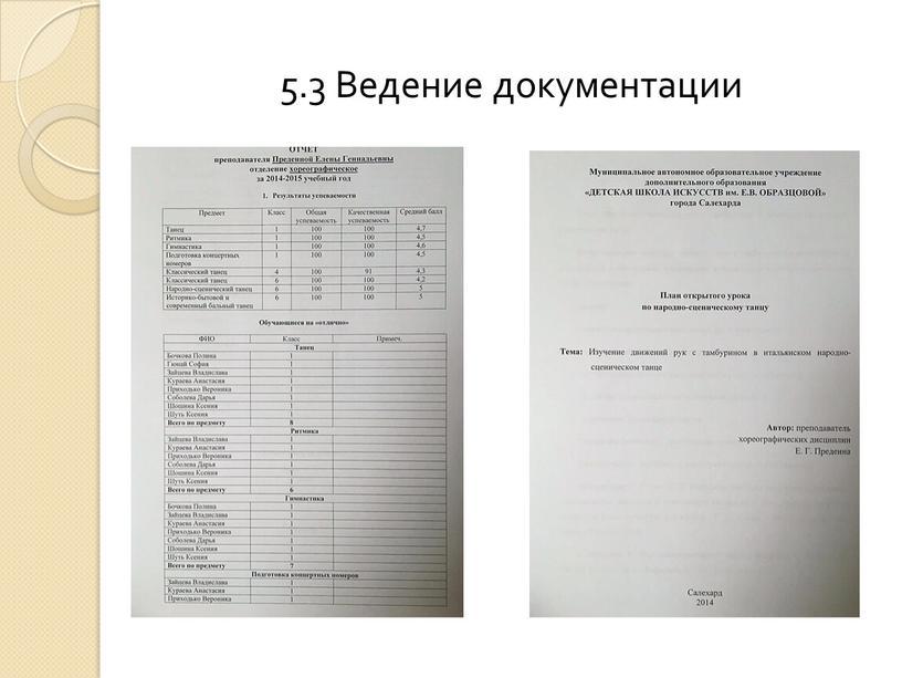 5.3 Ведение документации