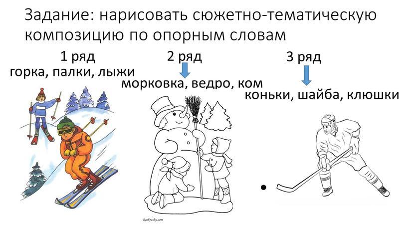 Задание: нарисовать сюжетно-тематическую композицию по опорным словам 1 ряд 2 ряд 3 ряд горка, палки, лыжи морковка, ведро, ком коньки, шайба, клюшки