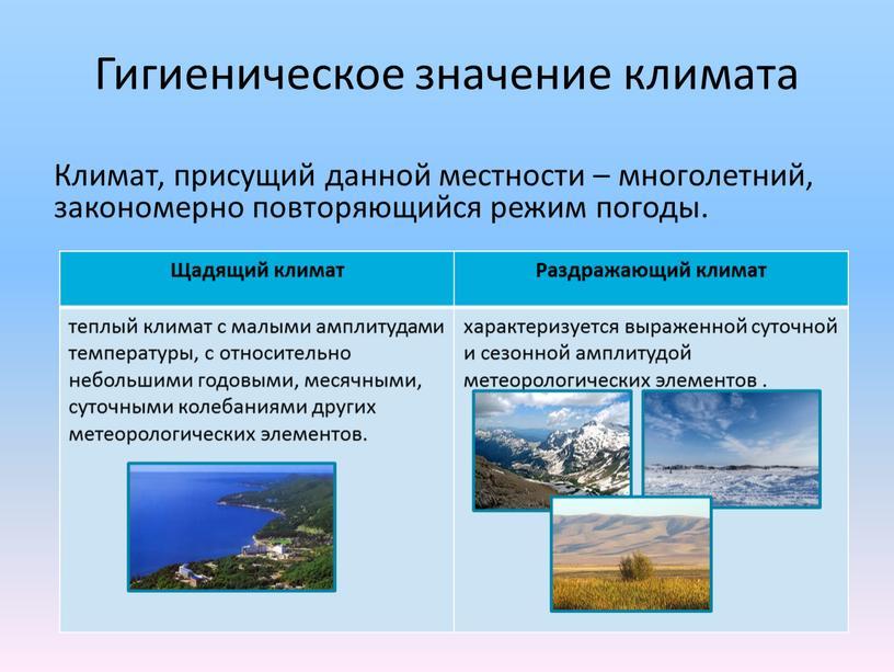Гигиеническое значение климата