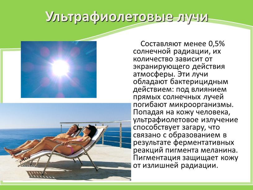 Ультрафиолетовые лучи Составляют менее 0,5% солнечной радиации, их количество зависит от экранирующего действия атмосферы