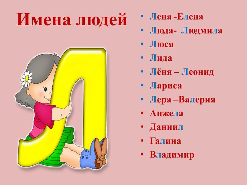 Имена людей Лена -Елена Люда-
