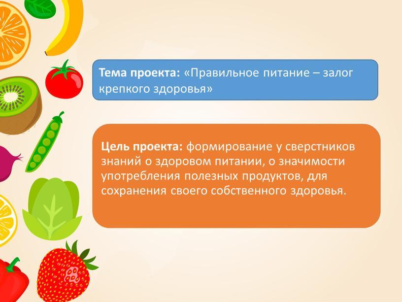 Тема проекта: «Правильное питание – залог крепкого здоровья»