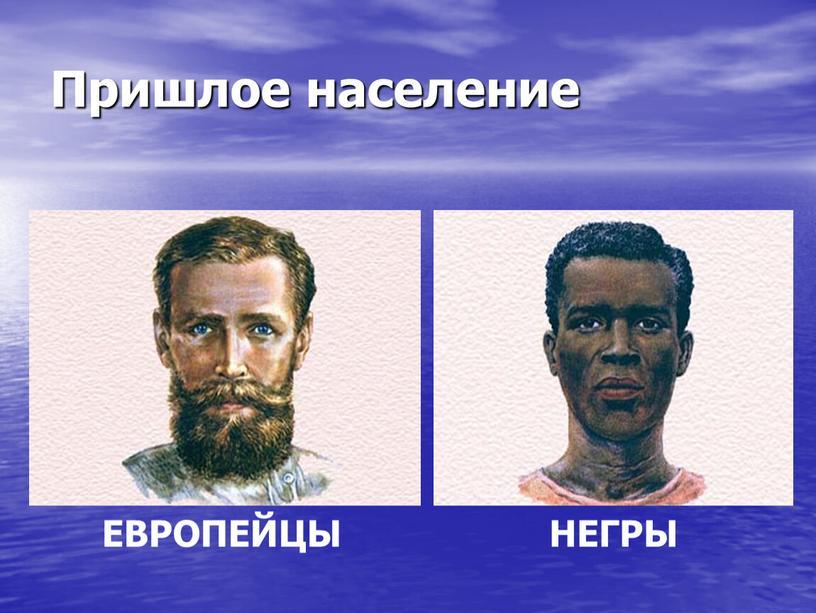 Пришлое население ЕВРОПЕЙЦЫ НЕГРЫ