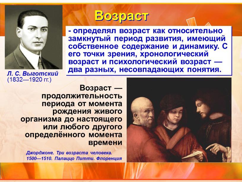 Возраст Л. С. Выготский (1832—1920 гг