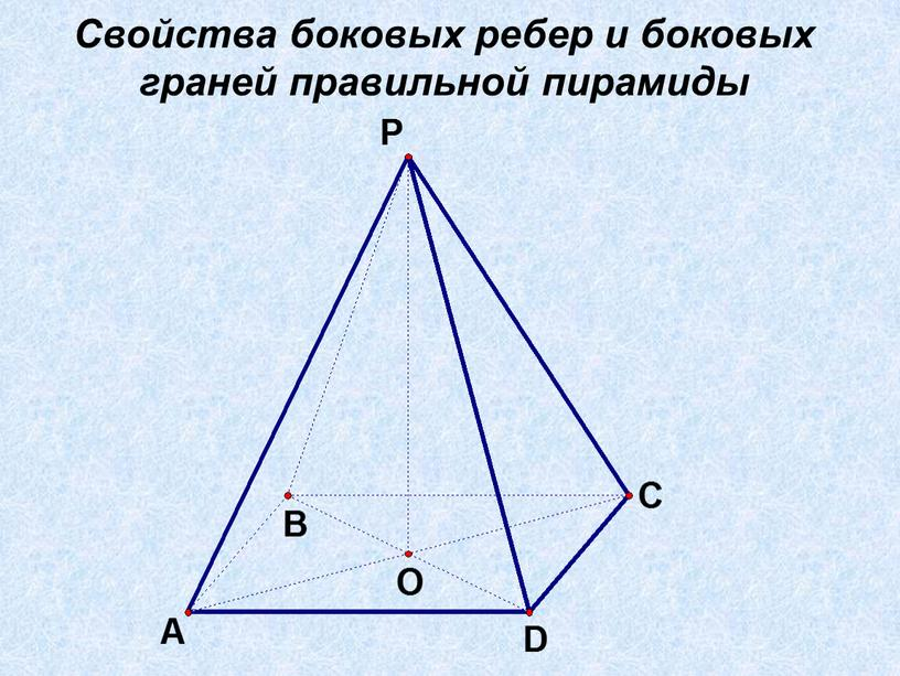Свойства боковых ребер и боковых граней правильной пирамиды