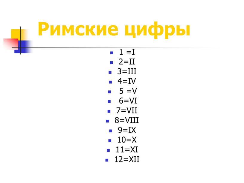 Римские цифры 1 =I 2=II 3=III 4=IV 5 =V 6=VI 7=VII 8=VIII 9=IX 10=X 11=XI 12=XII