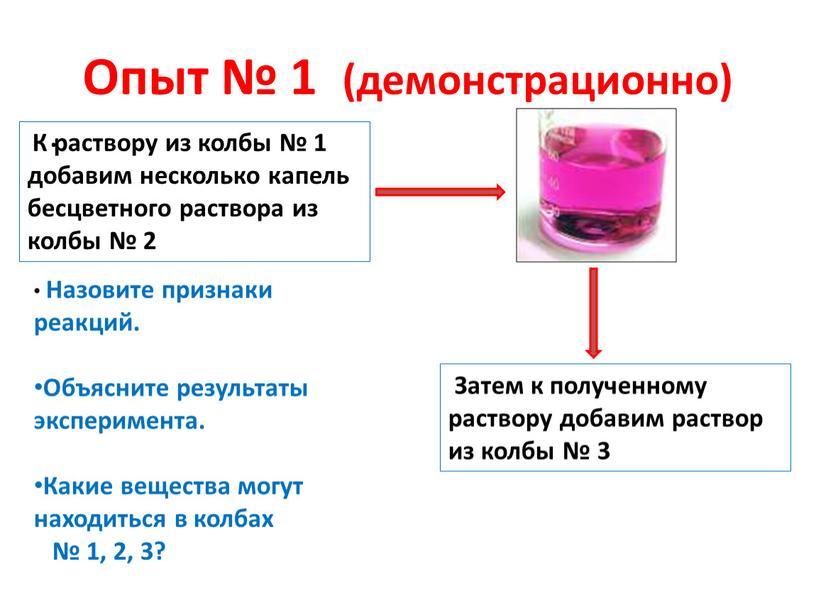 Опыт № 1 (демонстрационно) .