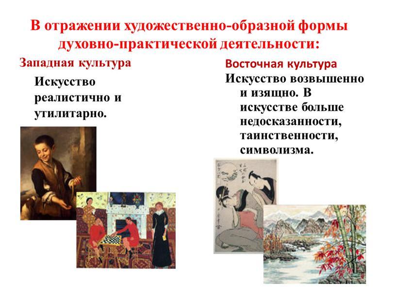 В отражении художественно-образной формы духовно-практической деятельности: